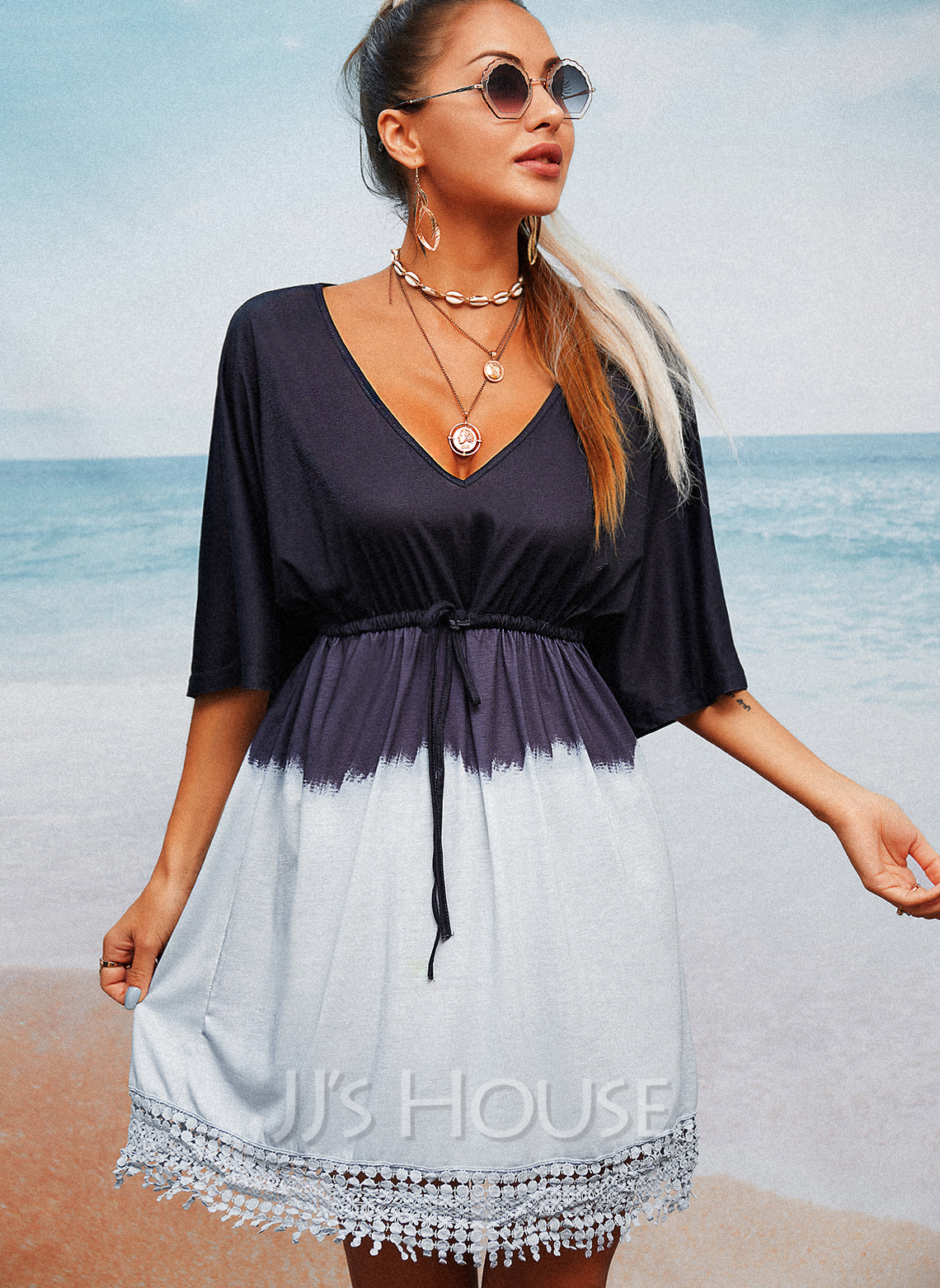 Lace Gradient A-line V-Neck 1/2 Sleeves Midi Casual Vacation Skater Dresses