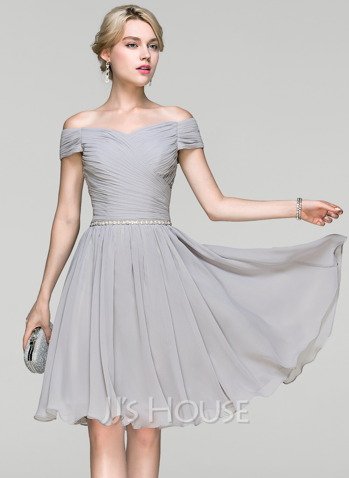 A line princess off the shoulder knee length chiffon for Mid length wedding dress