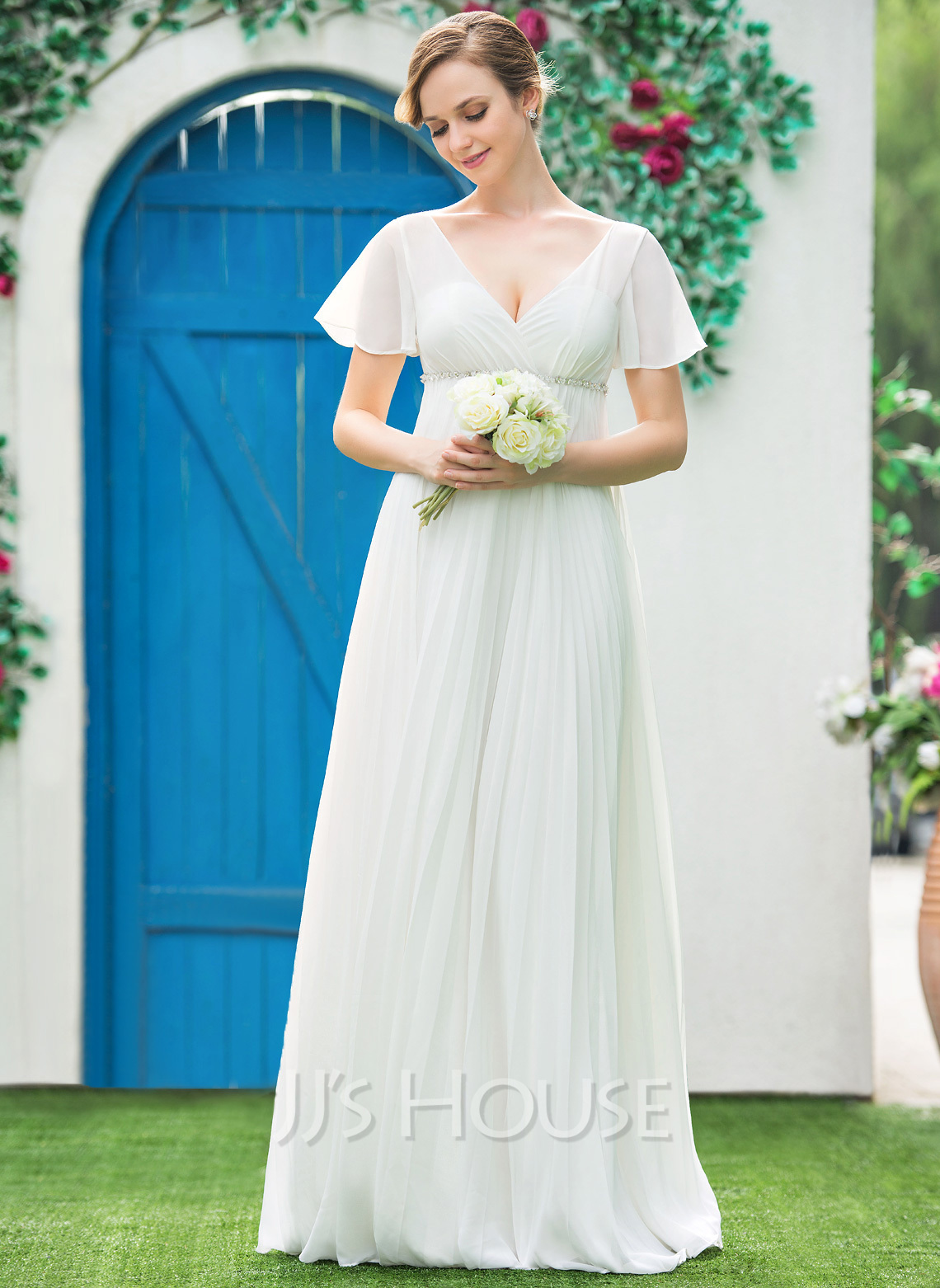 Empire V-neck Floor-Length Chiffon Wedding Dress With Beading ...
