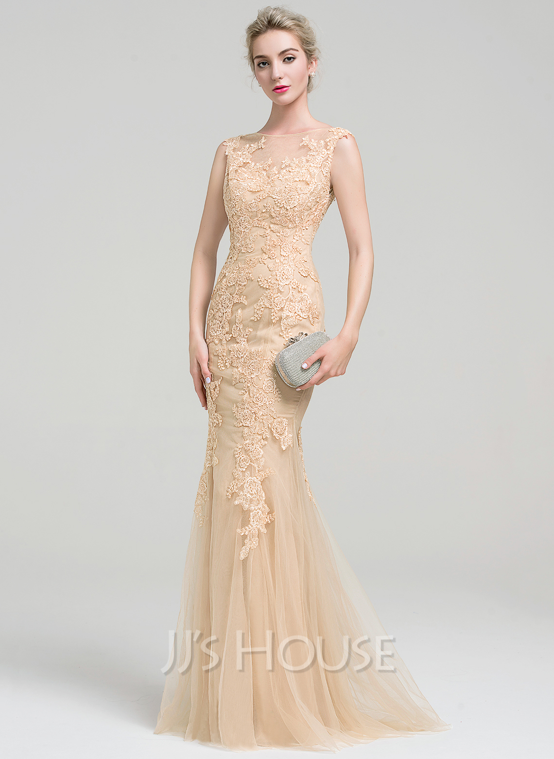 Trumpet mermaid scoop neck floor length tulle lace evening for Floor length gowns