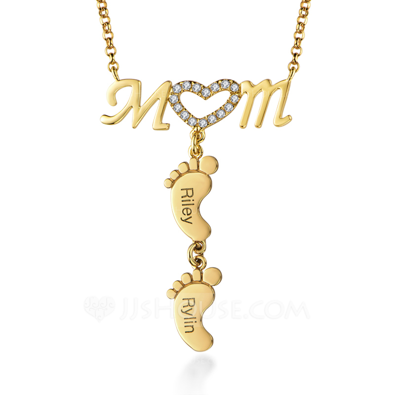Custom 18k Gold Plated Baby Feet Two Engraved Necklace With Heart Kids Names - Birthday Gifts
