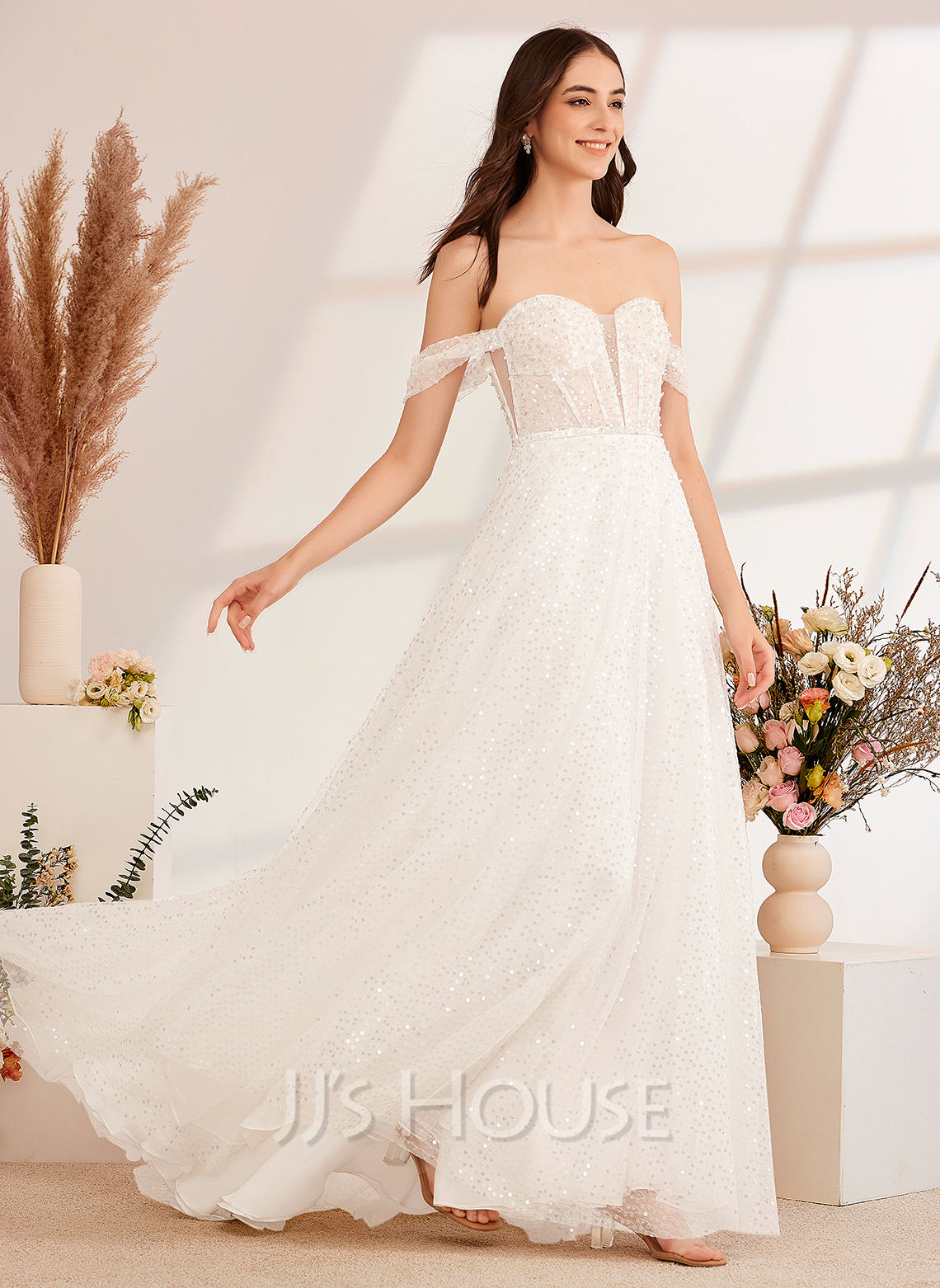 A-Line Off-the-Shoulder Sweep Train Wedding Dress With Sequins