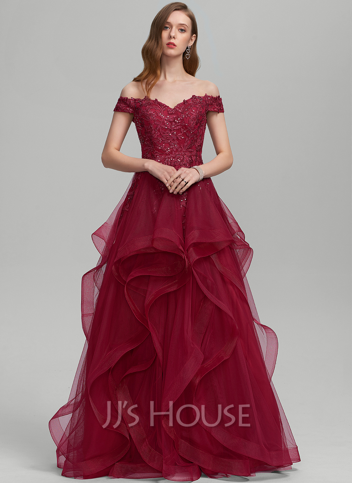 Ball-Gown/Princess Off-the-Shoulder Floor-Length Tulle Prom Dresses With Sequins