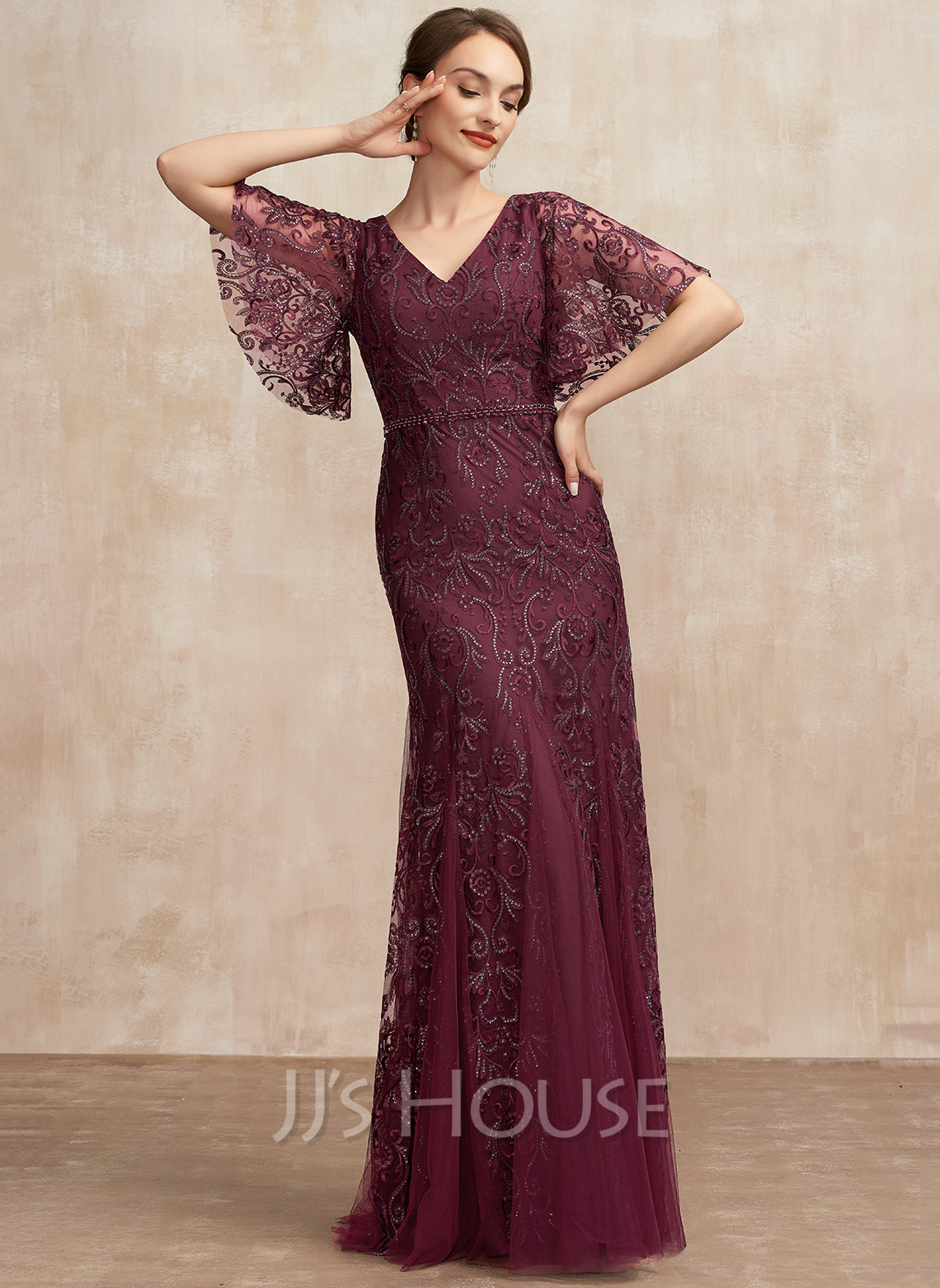 Trumpet/Mermaid V-neck Floor-Length Tulle Lace Mother of the Bride Dress With Beading Sequins