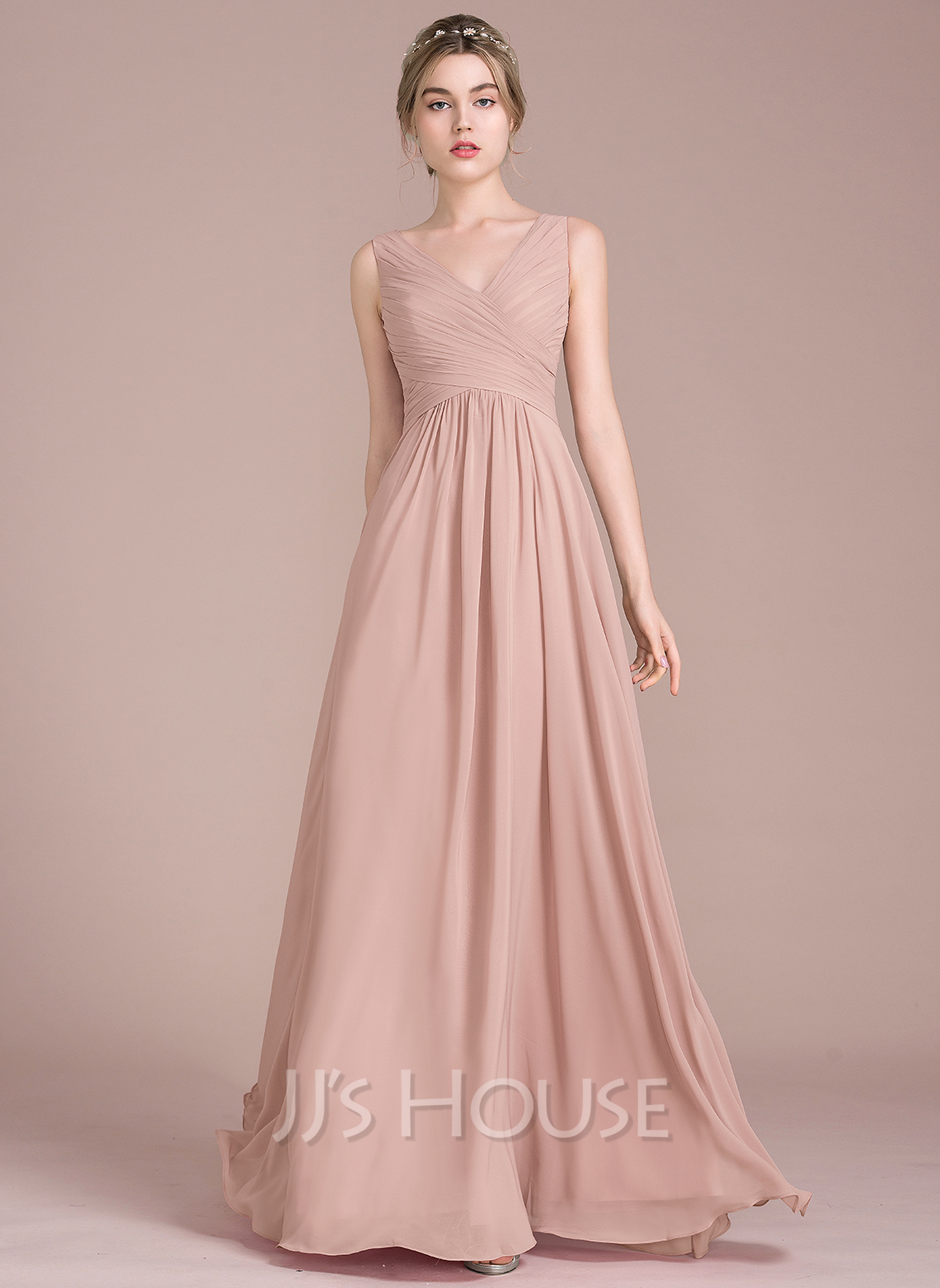 d83774a39eb A-Line Princess V-neck Floor-Length Chiffon Bridesmaid Dress With Ruffle.  Loading zoom