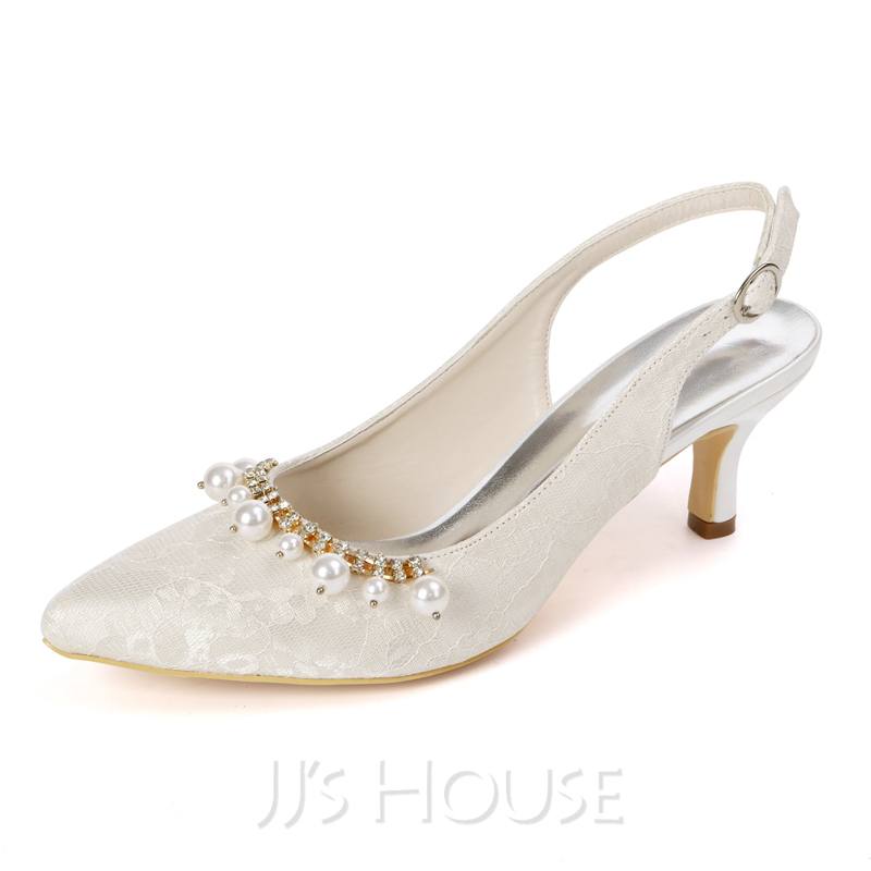 Women's Lace Satin Low Heel Slingbacks With Pearl