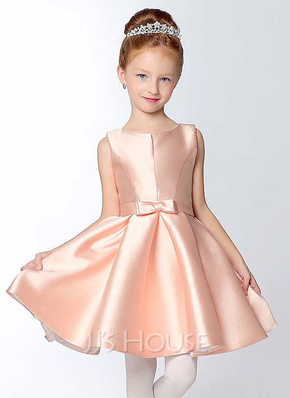 c4646f58bb7 A-Line Princess Short Mini Flower Girl Dress - Satin Sleeveless V-. Loading  zoom