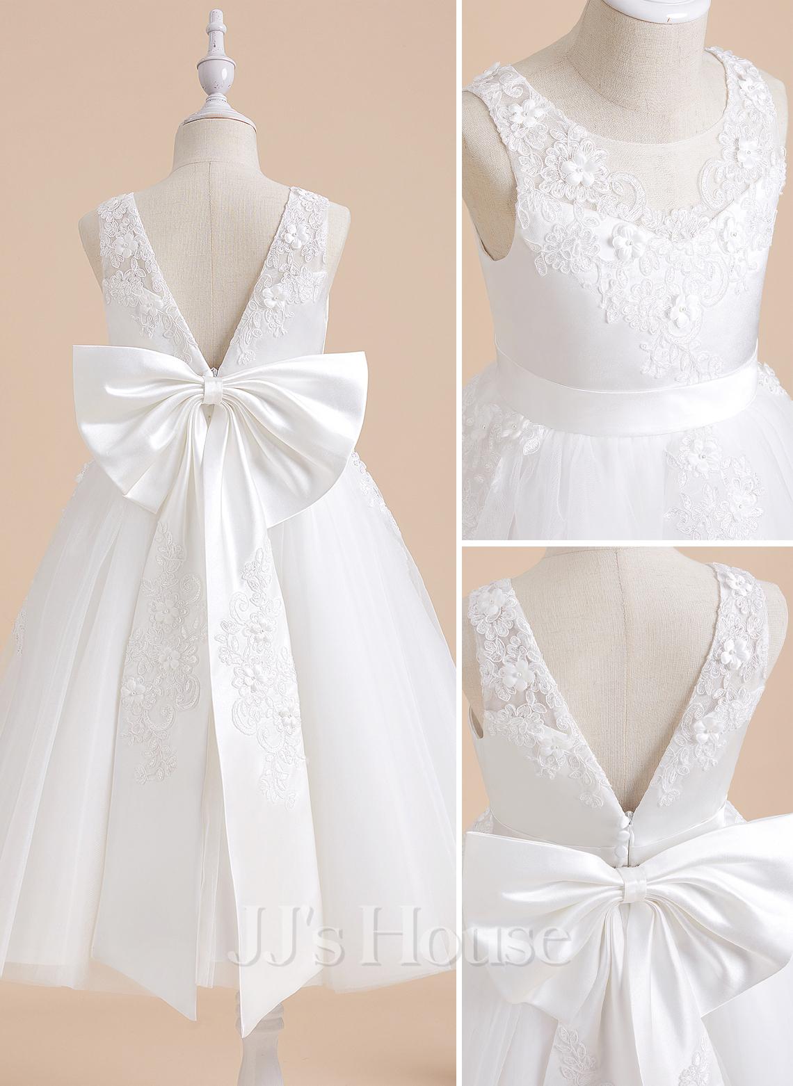 A-Line Tea-length Flower Girl Dress - Lace Sleeveless With Beading/Flower(s)/Bow(s)