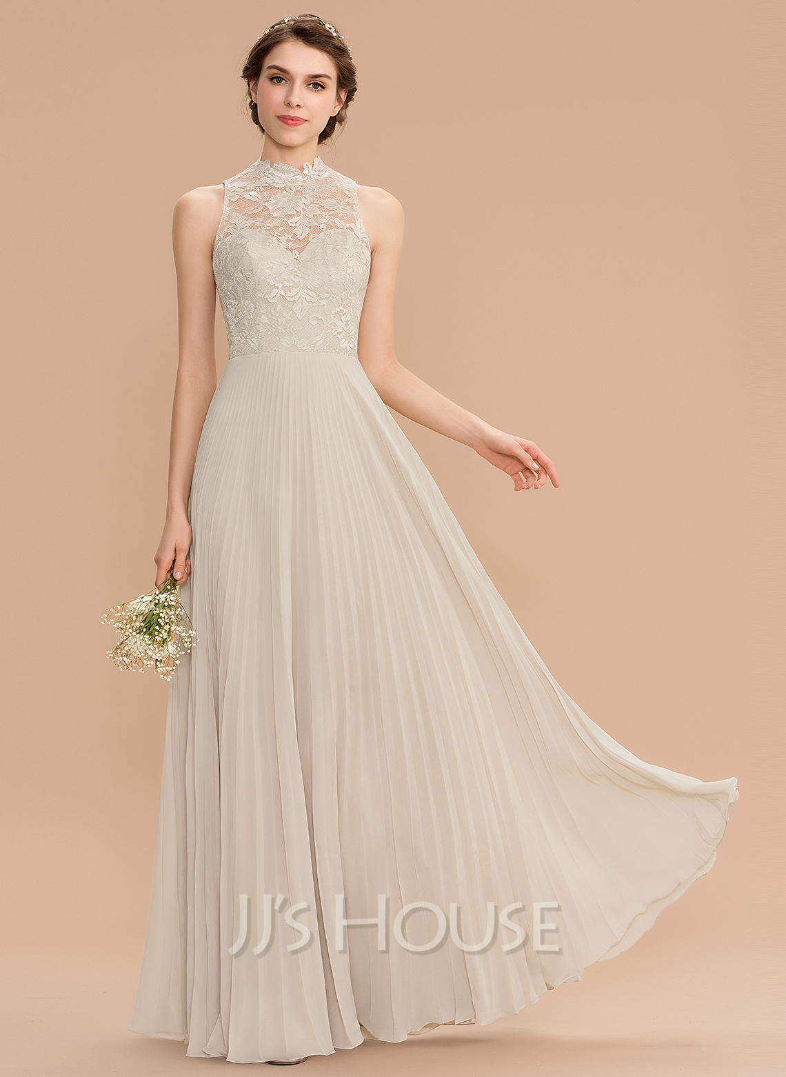 Scoop Neck Floor-Length Chiffon Lace Bridesmaid Dress With Pleated