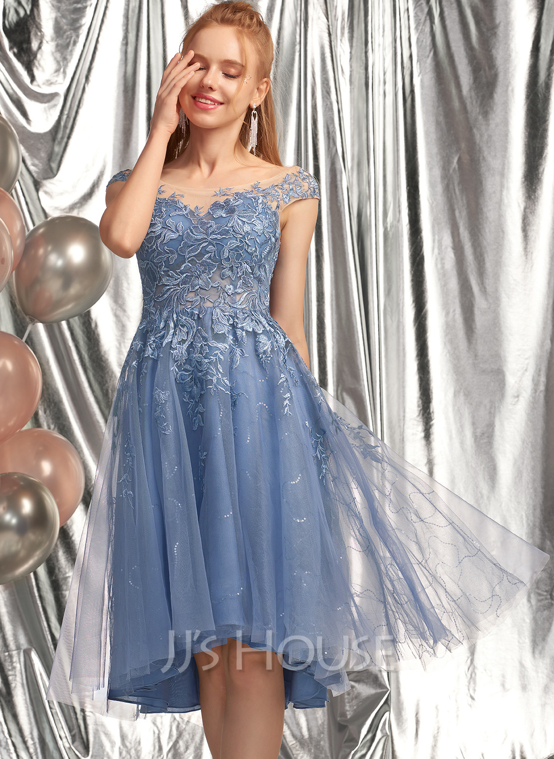 A-Line Scoop Neck Asymmetrical Tulle Homecoming Dress With Sequins