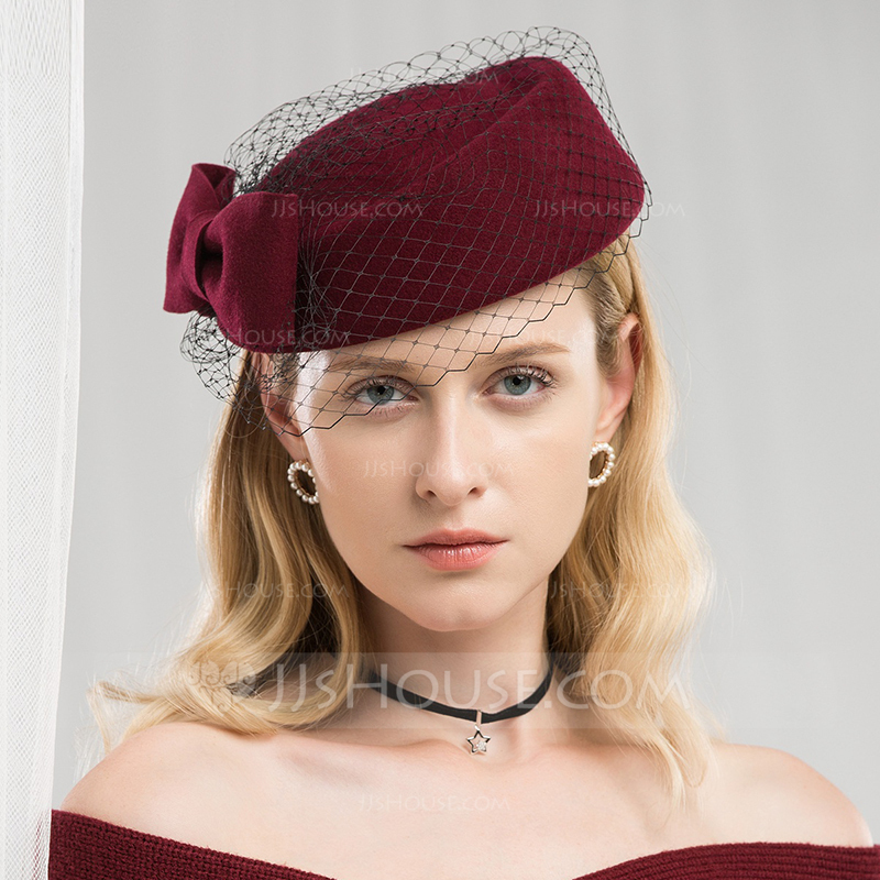 Ladies' Special/Romantic Wool With Tulle Beret Hats/Tea Party Hats