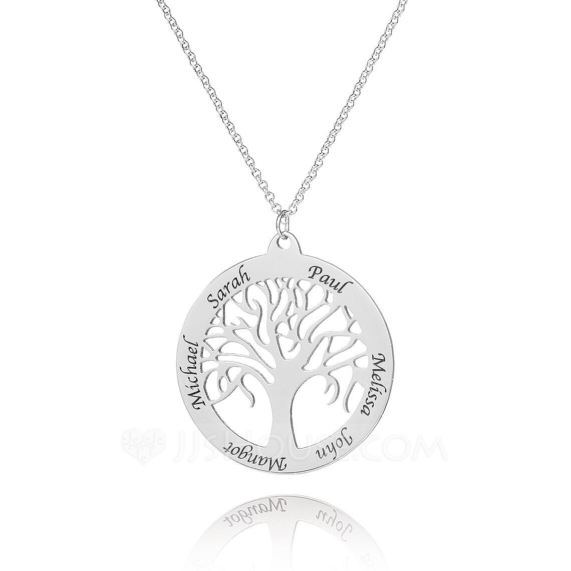 Custom Sterling Silver Engraving/Engraved Family Necklace Circle Necklace With Family Tree - Birthday Gifts Mother's Day Gifts