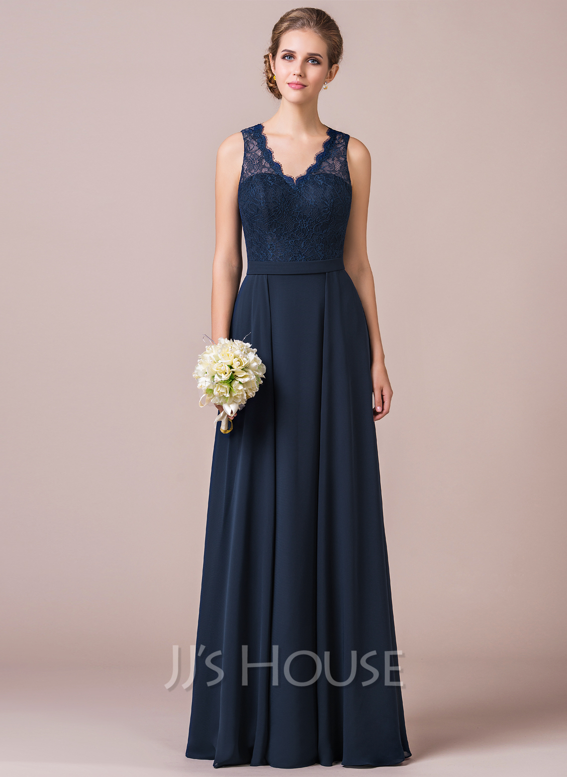 A Line V Neck Floor Length Chiffon Lace Overlay Bridesmaid Dress Loading Zoom