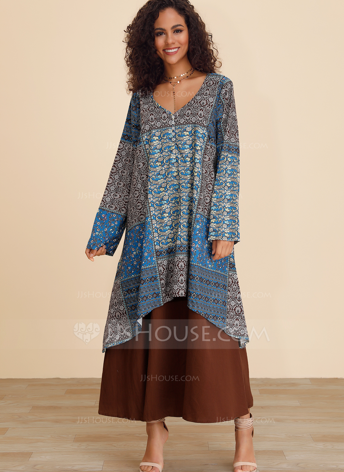 Polyester With Button/Stitching/Print Maxi Dress