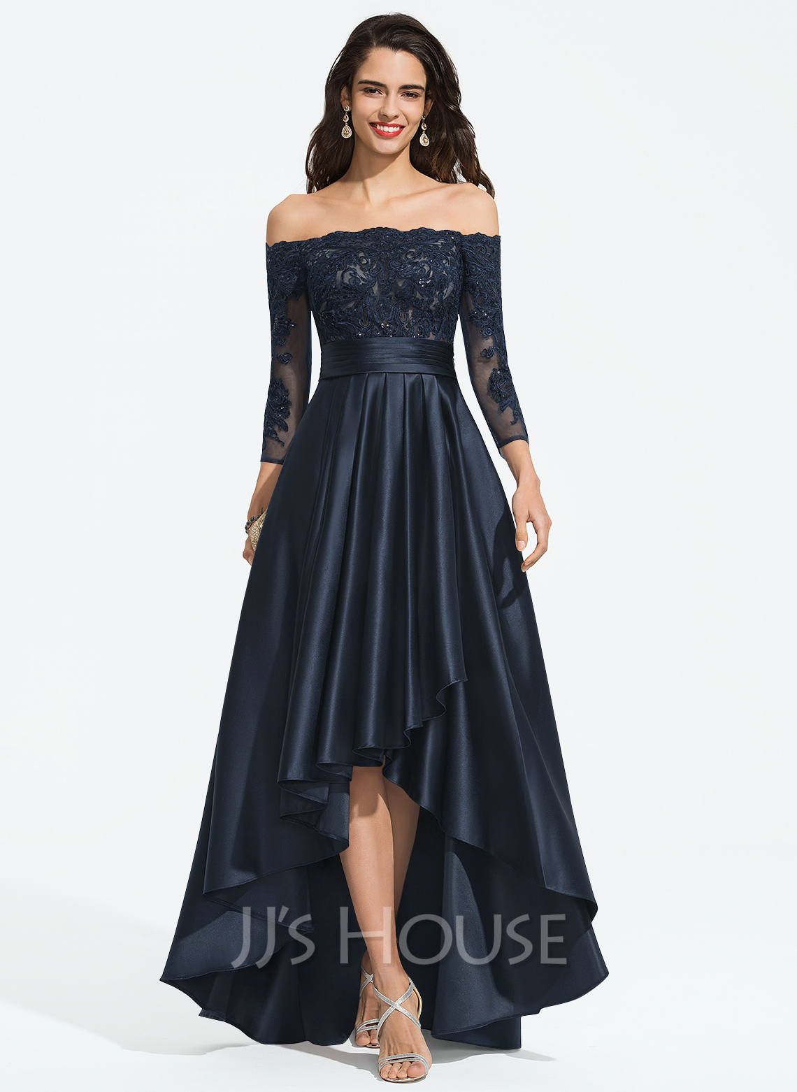 Off-the-Shoulder Asymmetrical Satin Prom Dresses With Ruffle Sequins