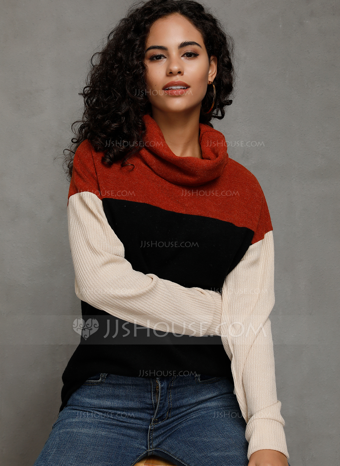 Long Sleeves Polyester High Neck Knit Blouses