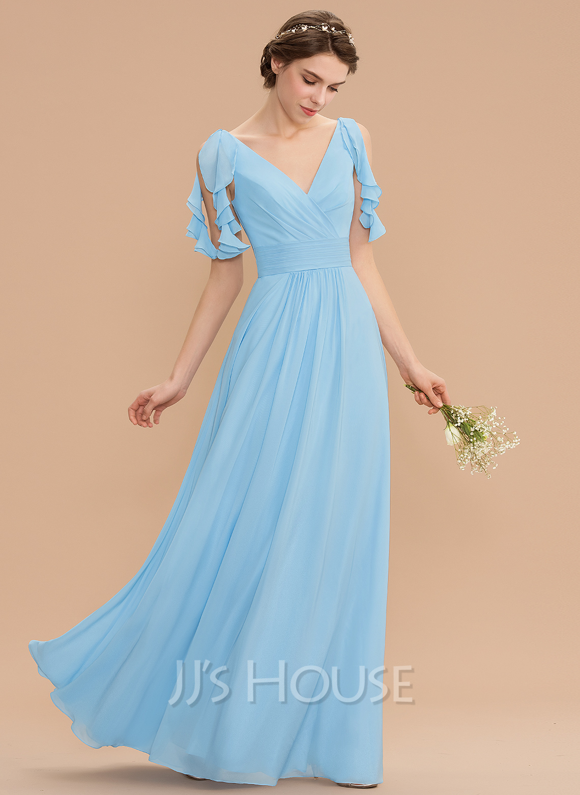 V-neck Floor-Length Chiffon Bridesmaid Dress With Cascading Ruffles