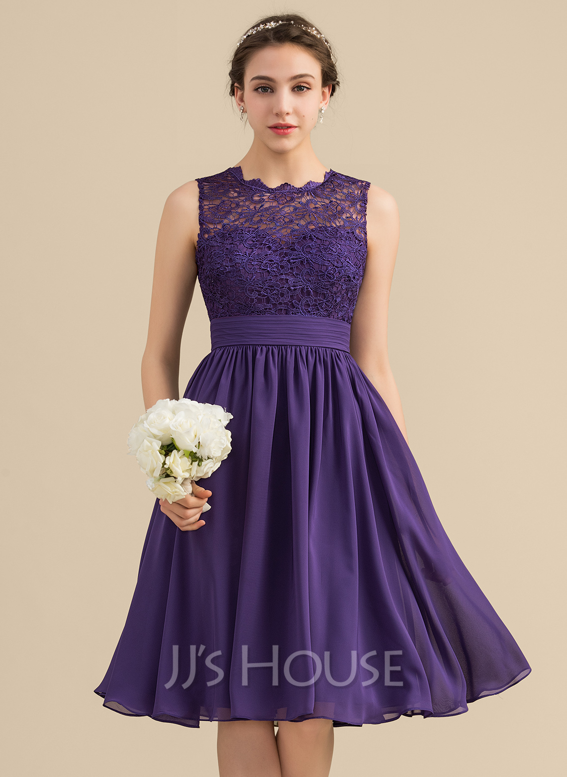 87d83786d62e A-Line/Princess Scoop Neck Knee-Length Chiffon Lace Bridesmaid Dress With  Ruffle. Loading zoom