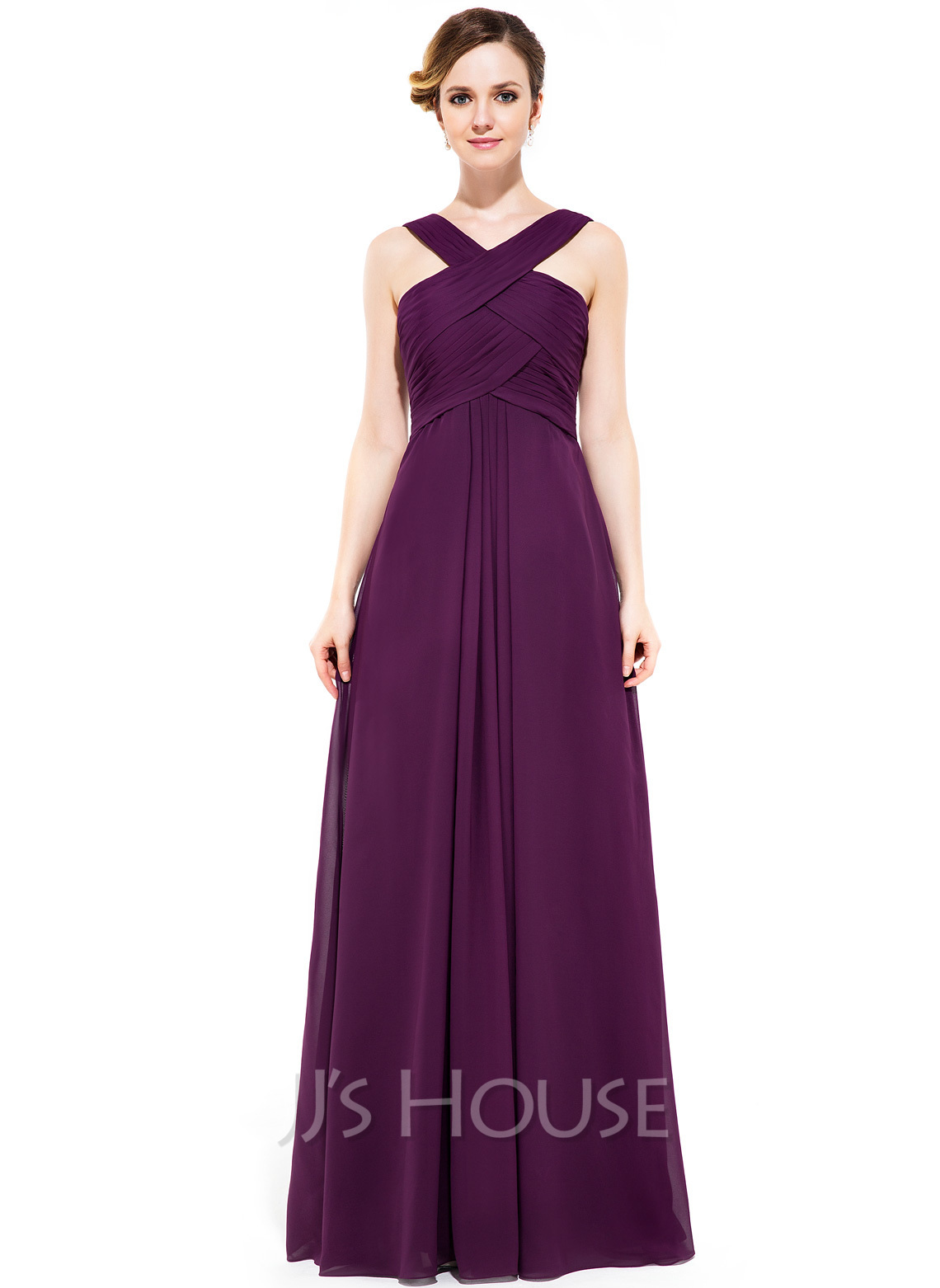 A Line Y Neck Floor Length Chiffon Bridesmaid Dress Loading Zoom