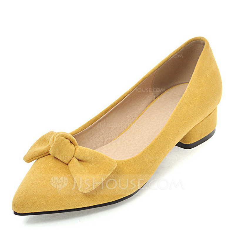 5e52b67a413ed Women's Suede Low Heel Pumps Closed Toe With Bowknot shoes. Loading zoom