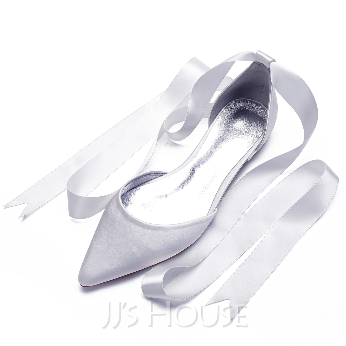 Women's Satin Flat Heel Pumps With Bowknot Lace-up