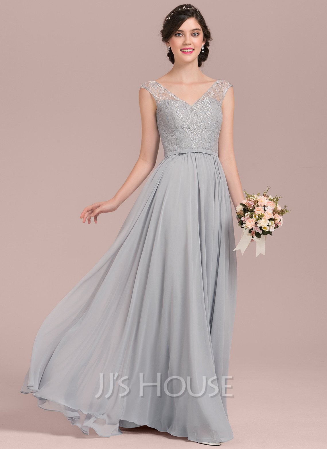 V-neck Floor-Length Chiffon Lace Bridesmaid Dress With Bow(s)