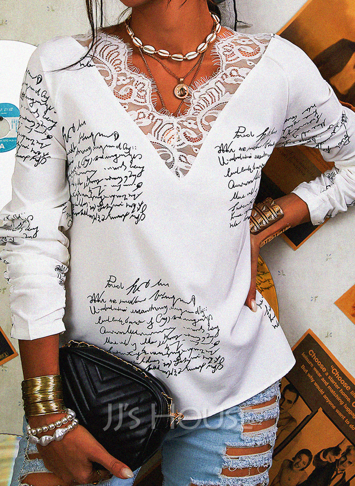 Regular Cotton Blends V-Neck Figure Lace Print 3XL L S M XL XXL Blouses