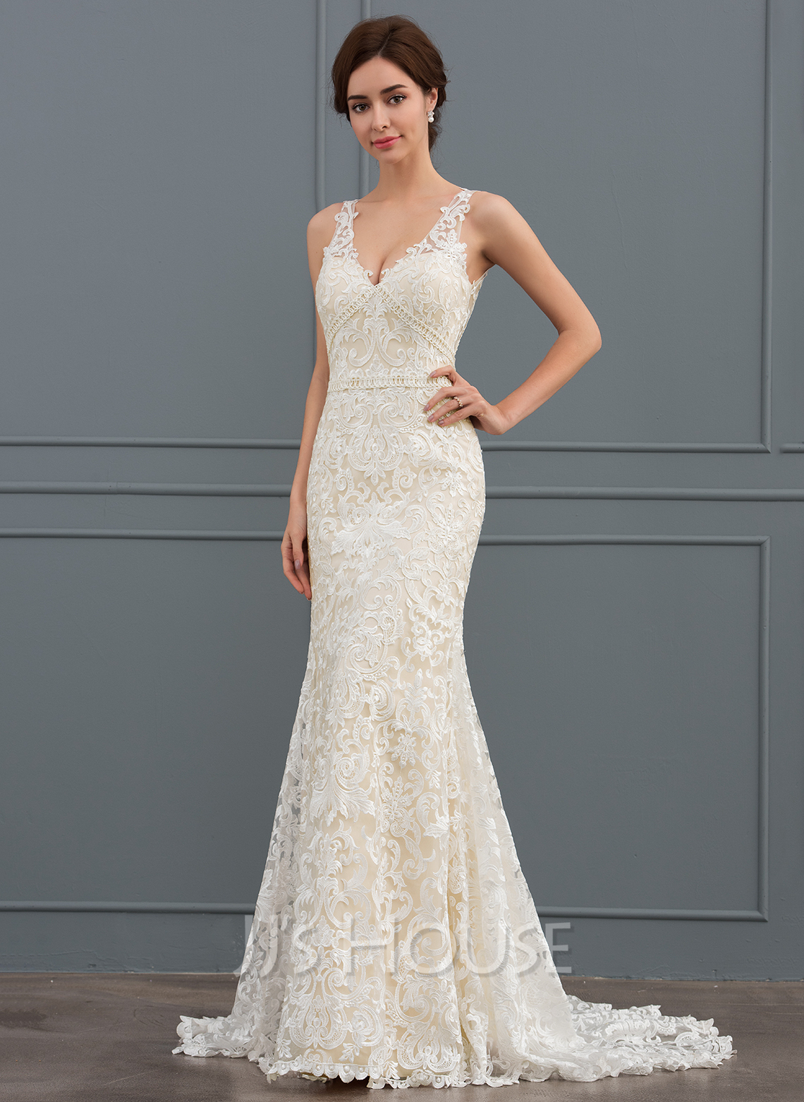 c16b2f38d47b Trumpet/Mermaid V-neck Sweep Train Lace Wedding Dress (002134401 ...