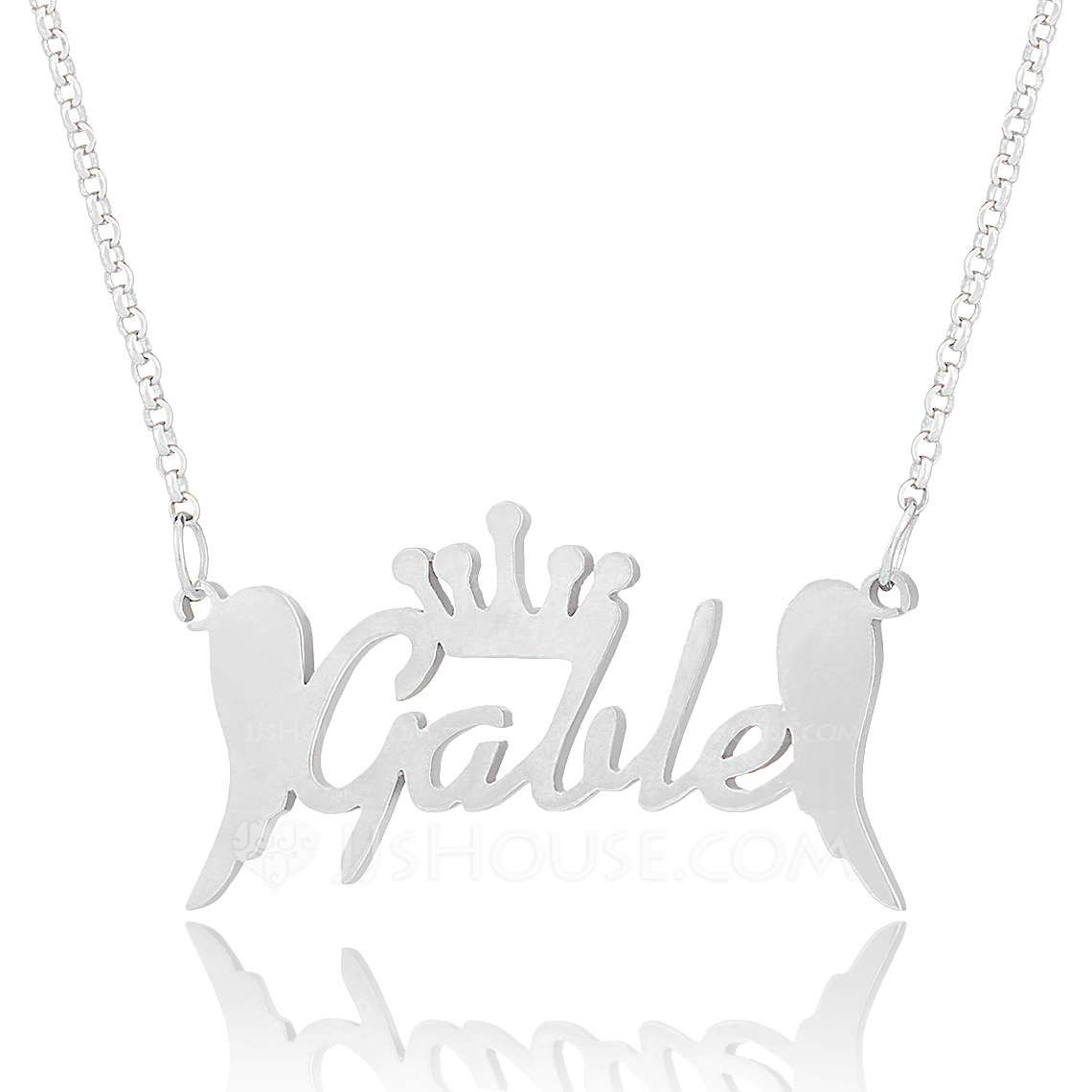 Custom Sterling Silver Name Necklace With Crown Angeles - Christmas Gifts