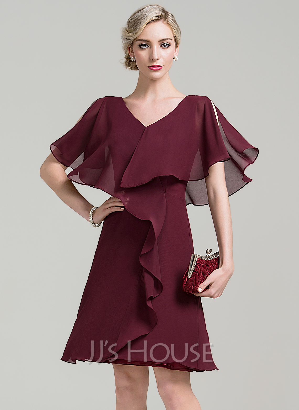 V-neck Knee-Length Chiffon Mother of the Bride Dress With Cascading Ruffles