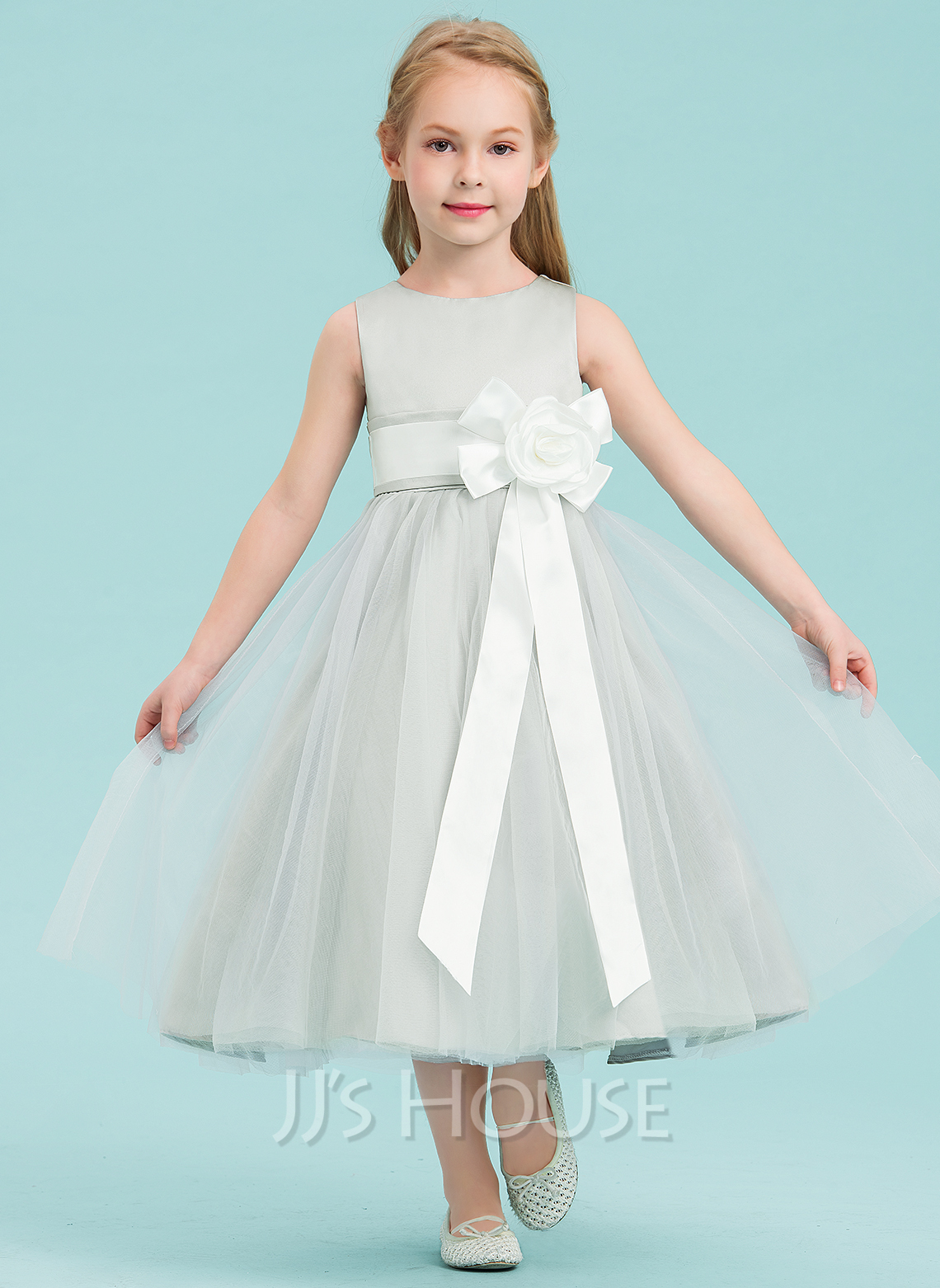 9f873742ad274 A-Line/Princess Tea-length Flower Girl Dress - Satin/Tulle Sleeveless.  Loading zoom