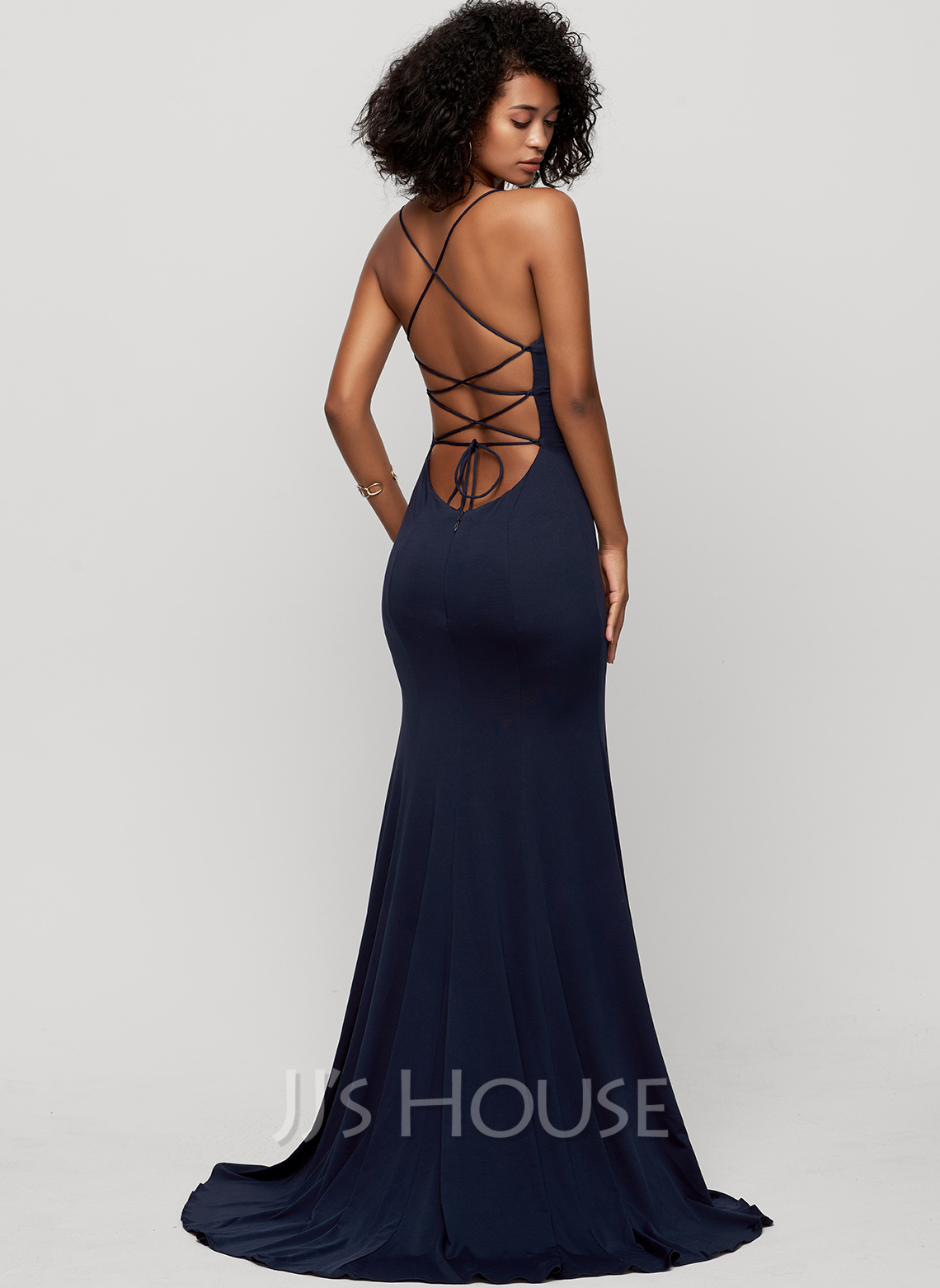 Trumpet/Mermaid Square Neckline Sweep Train Jersey Evening Dress With Split Front