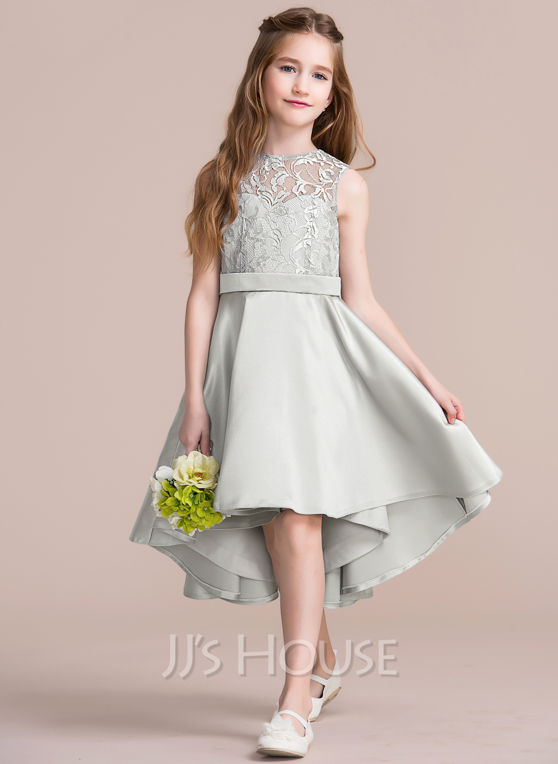 A line princess scoop neck asymmetrical satin junior for Wedding dresses for young girls