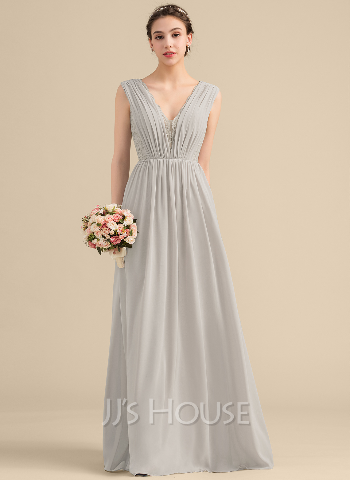 f5f4d5569f94 A-Line/Princess V-neck Floor-Length Chiffon Lace Bridesmaid Dress With. Loading  zoom