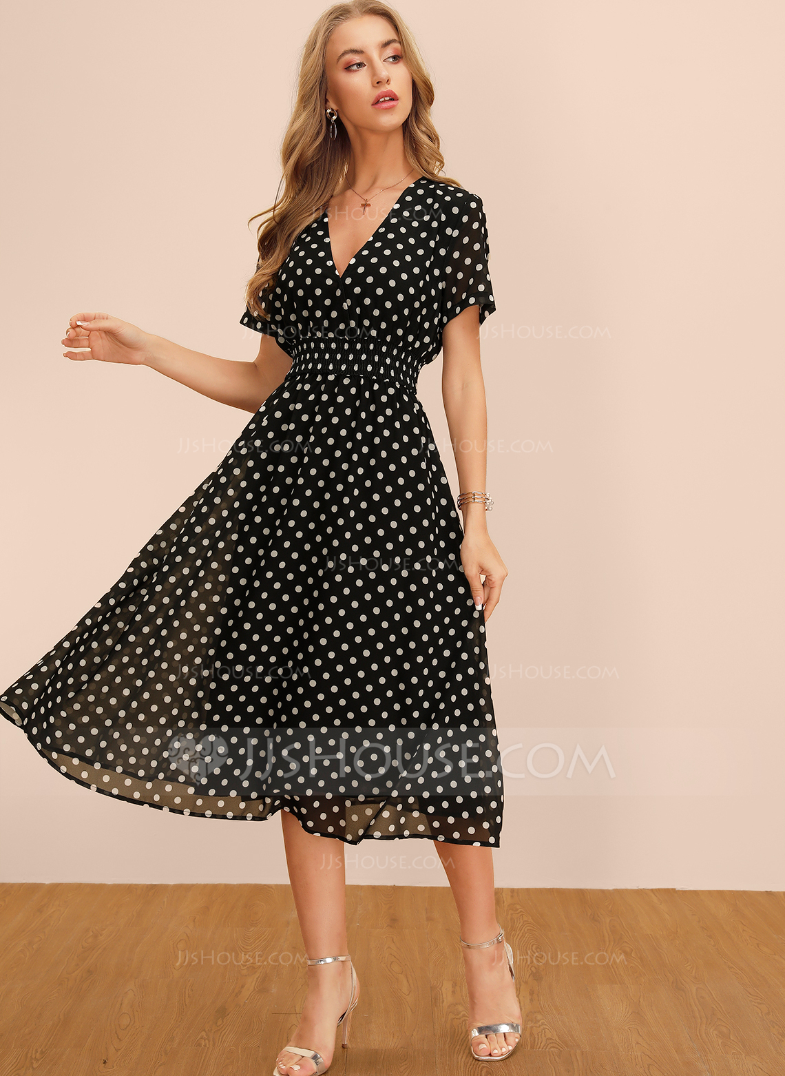Polyester With PolkaDot Knee Length Dress