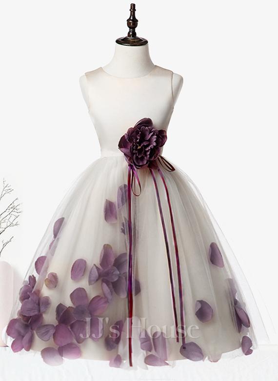 Çan Diz Hizası Çiçek Kız Elbise - Saten/Tül Kolsuz Yuvarlak Yaka Ile Çiçek(ler)