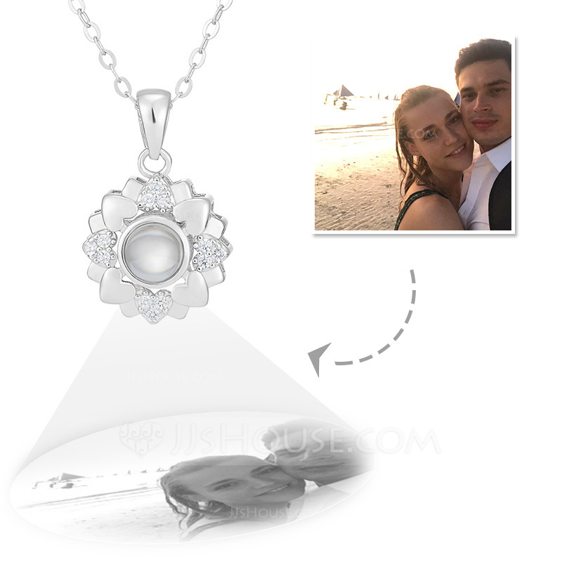 Custom Sterling Silver Circle Projection Photo Necklace With Four Little Heart - Mother's Day Gifts