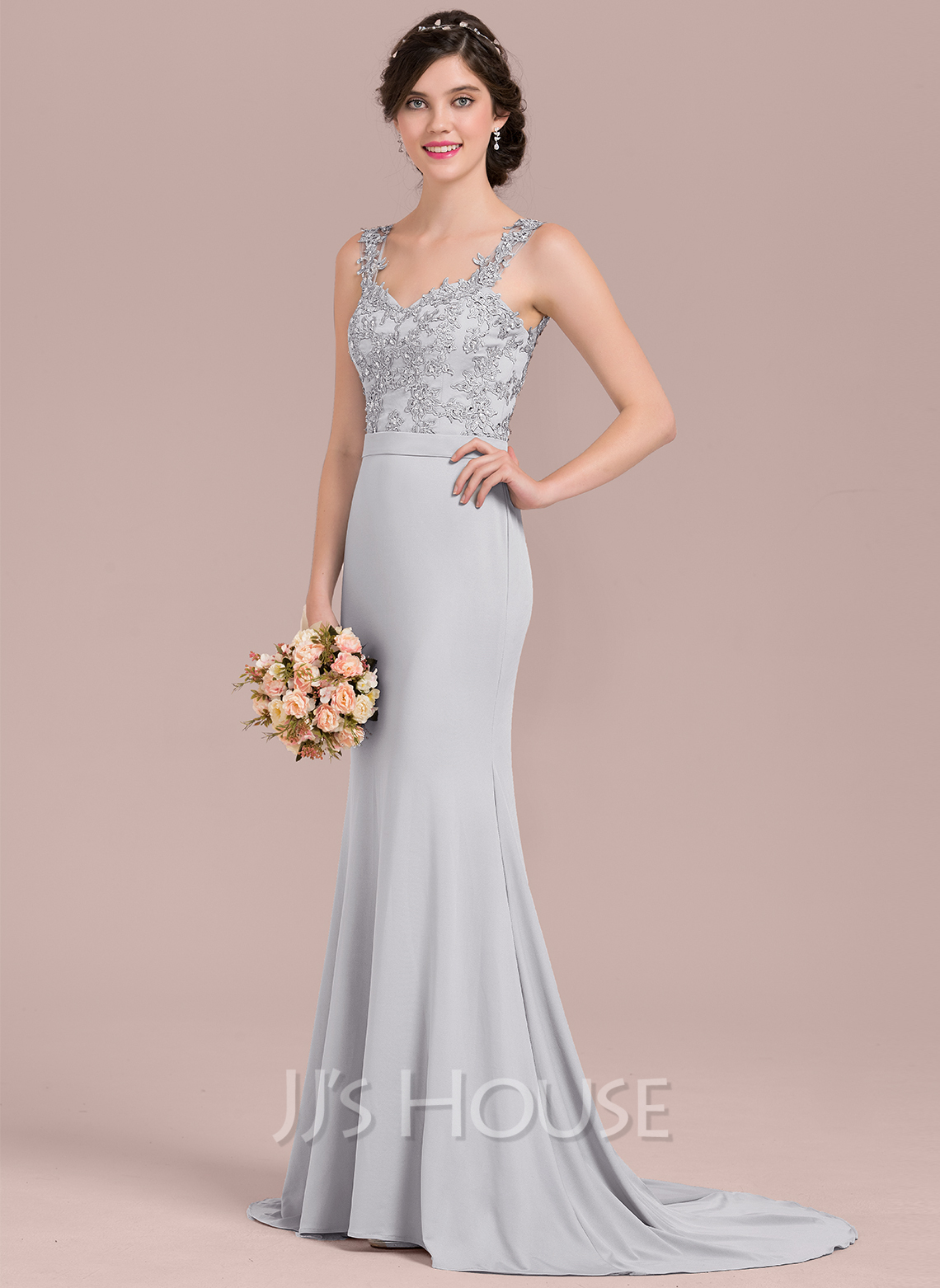 097d9fdac1 Trumpet Mermaid Sweetheart Sweep Train Lace Jersey Evening Dress With  Beading Sequins. Loading zoom