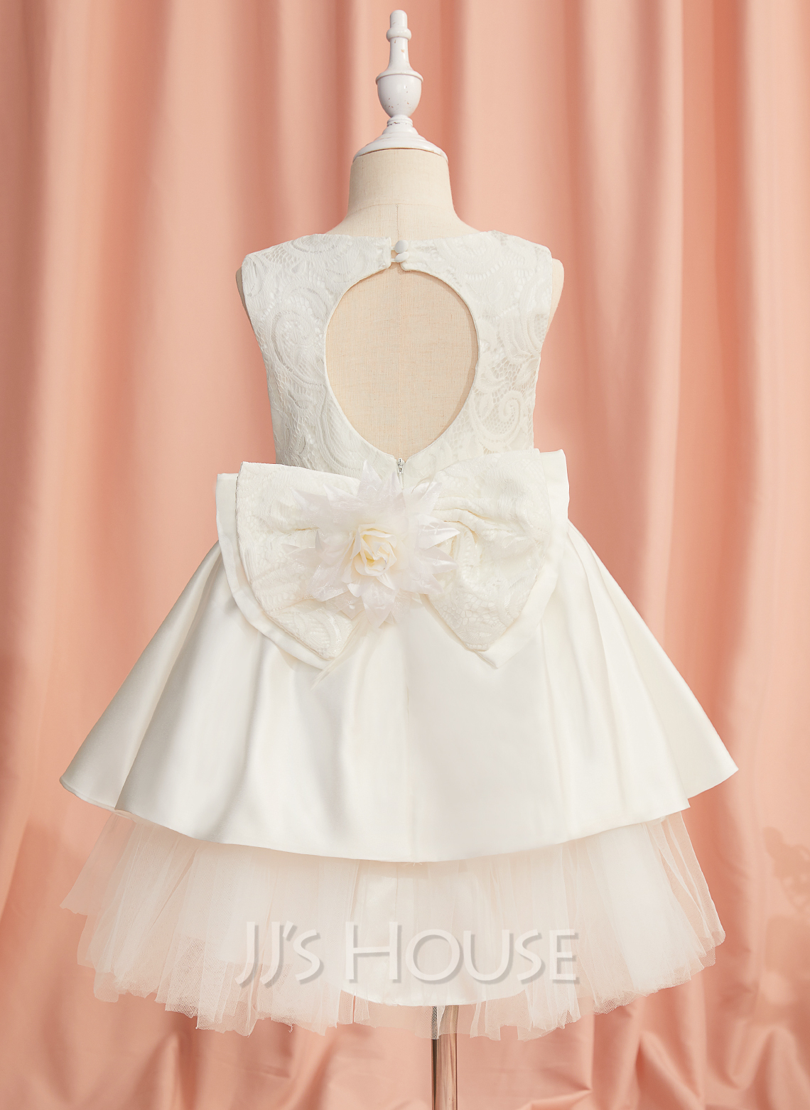 Ball-Gown/Princess Knee-length Flower Girl Dress - Satin Sleeveless Scoop Neck With Lace/Flower(s)/Bow(s)/Back Hole