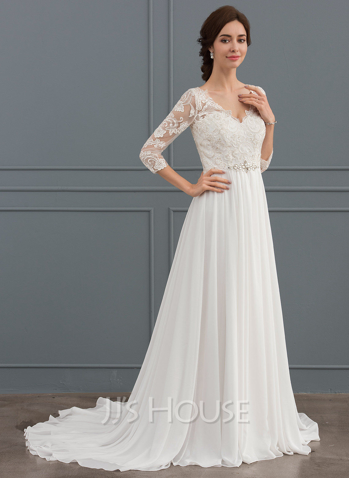 A Line Princess V Neck Sweep Train Chiffon Lace Wedding Dress With Beading Loading Zoom