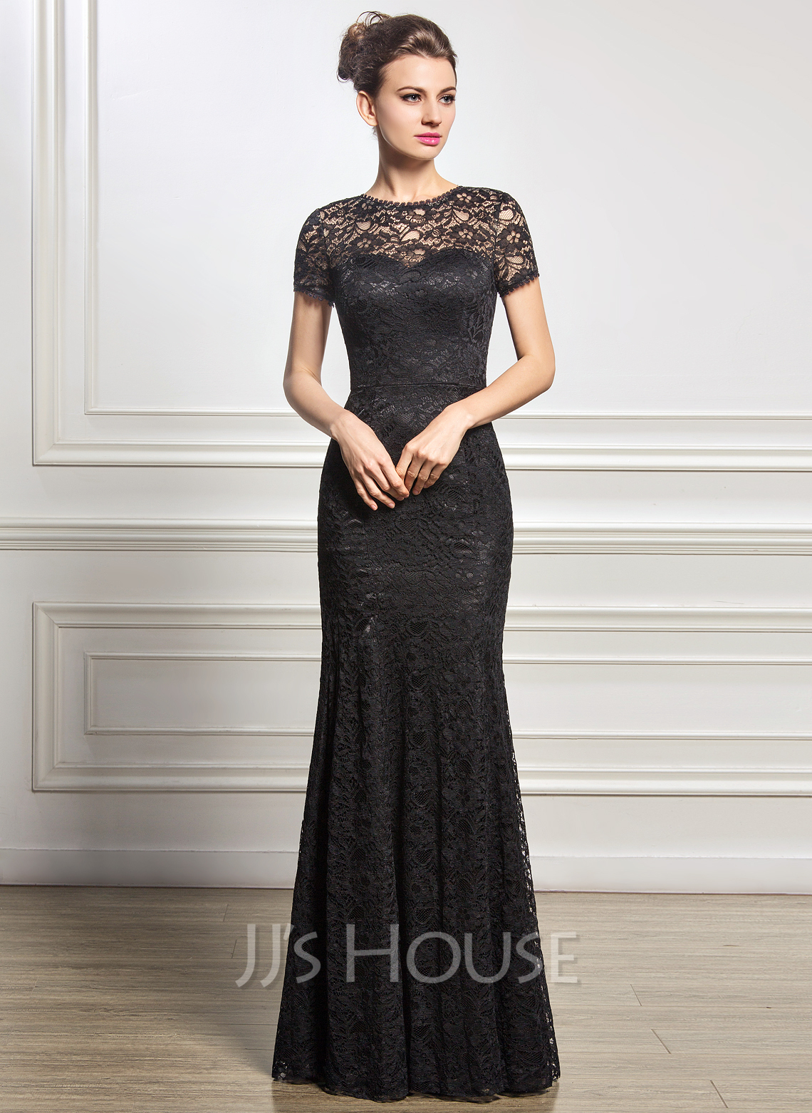 5ee2f3f9f8831 Trumpet Mermaid Scoop Neck Floor-Length Lace Mother of the Bride Dress.  Loading zoom