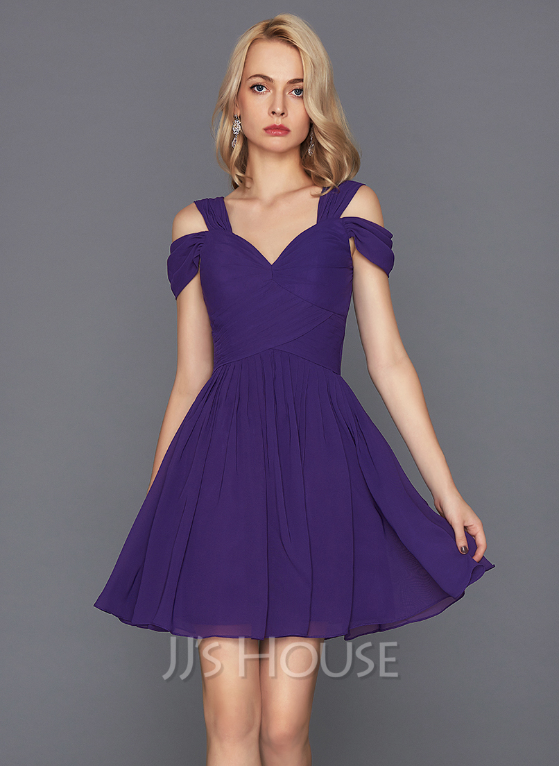 Sweetheart Short/Mini Chiffon Cocktail Dress With Ruffle