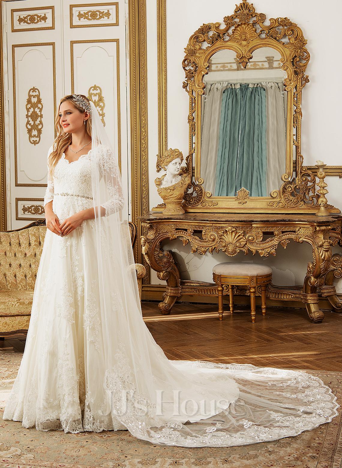 Платье для Балла/Принцесса V-образный Церковный шлейф Тюль Свадебные Платье с развальцовка блестки