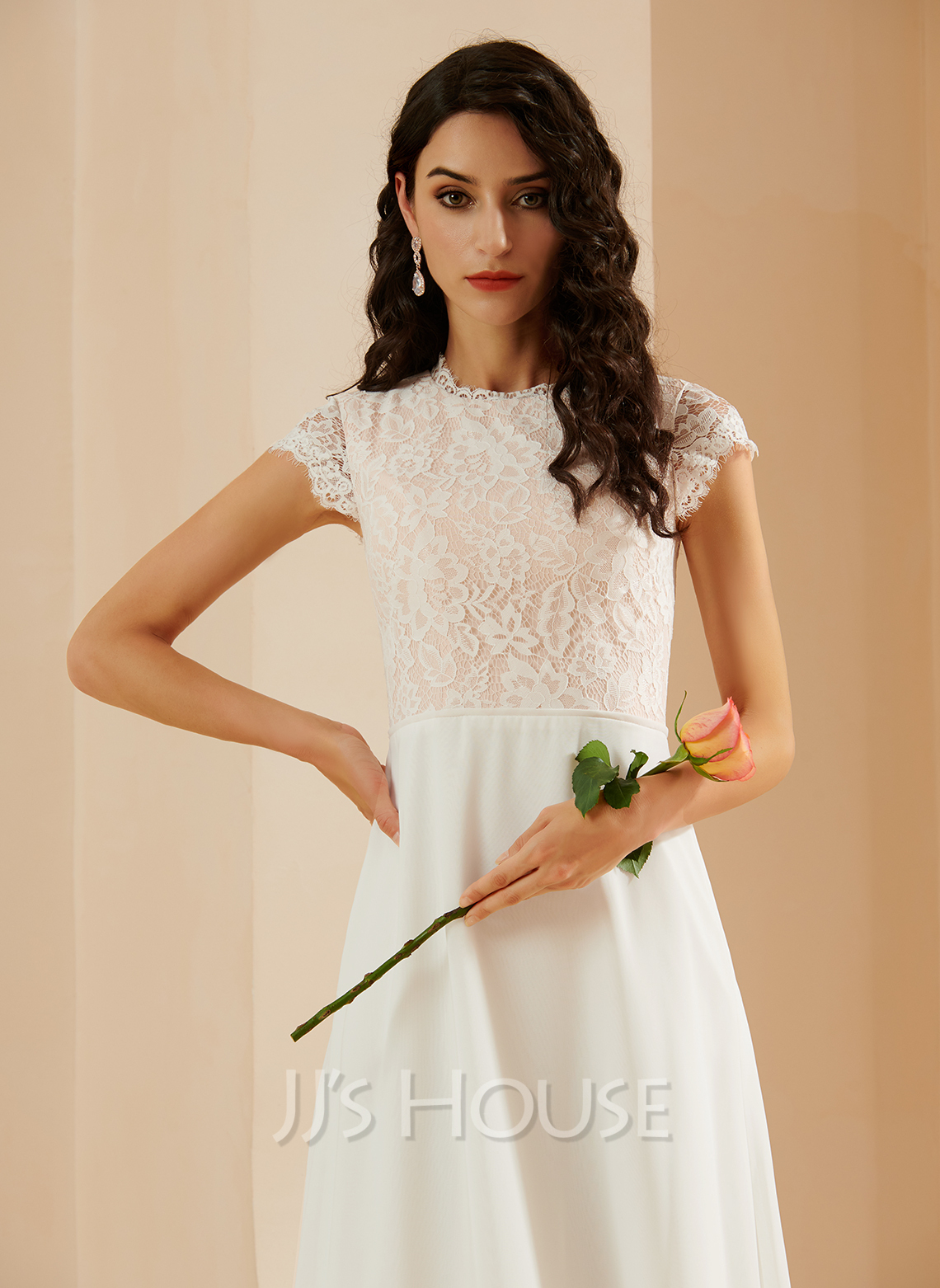 A-Line Scoop Neck Floor-Length Wedding Dress With Lace