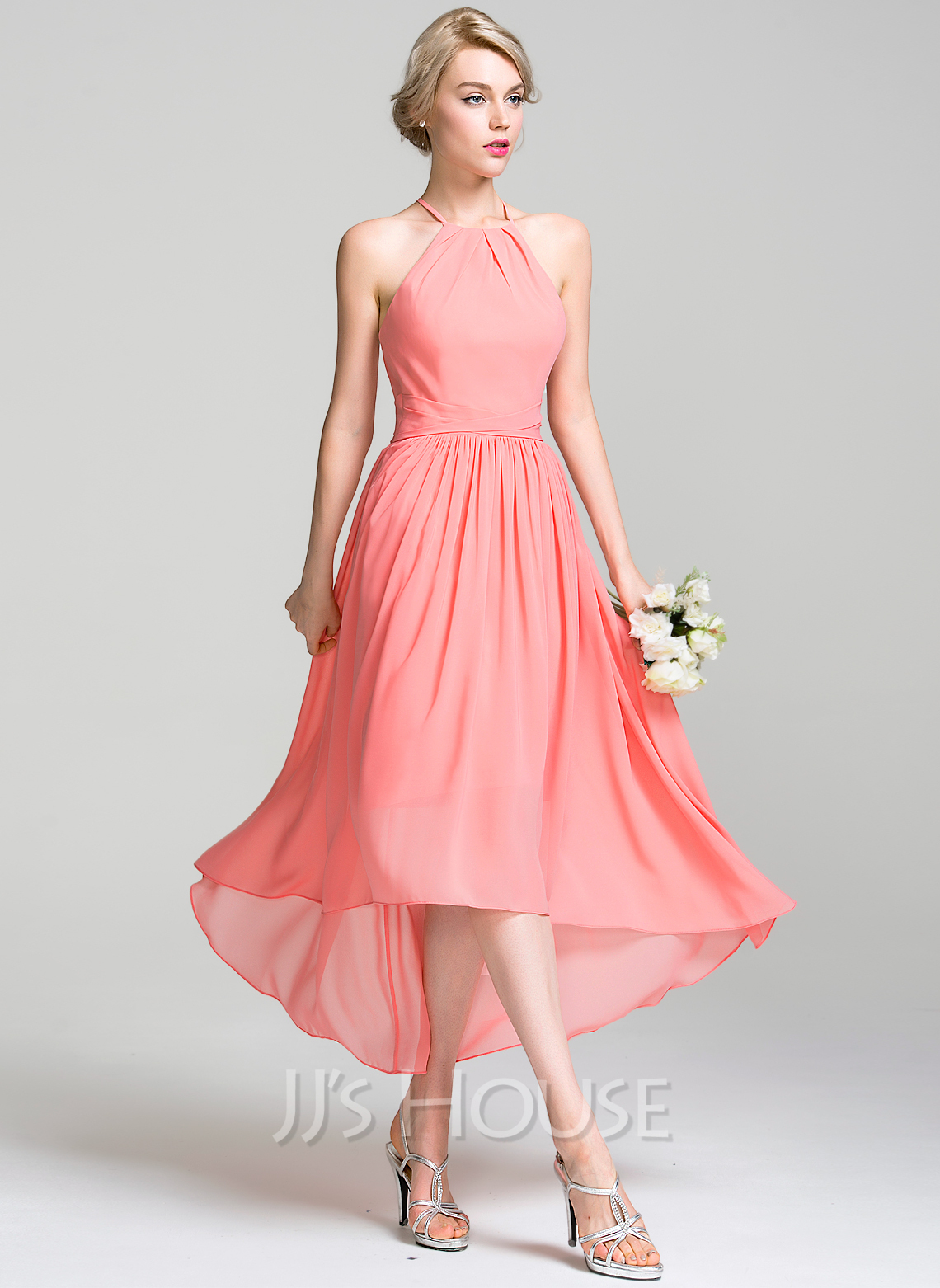 A-Line/Princess Scoop Neck Asymmetrical Chiffon Bridesmaid Dress ...