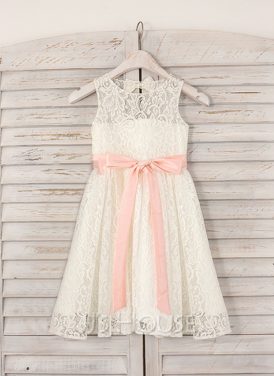 A-Line/Princess Knee-length Flower Girl Dress - Lace Sleeveless Jewel With Sash/Bow(s)/Back Hole