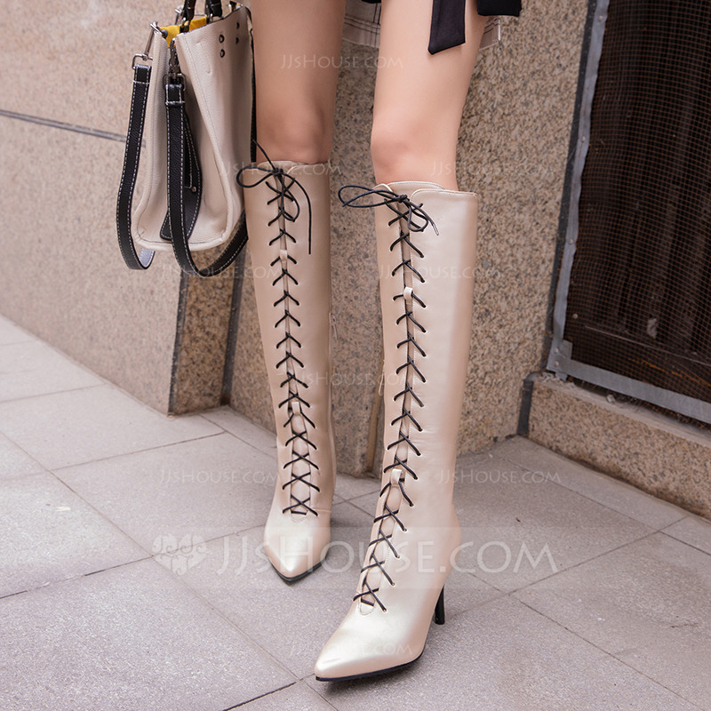 Women's Leatherette Stiletto Heel Pumps Boots Knee High Boots With Lace-up shoes