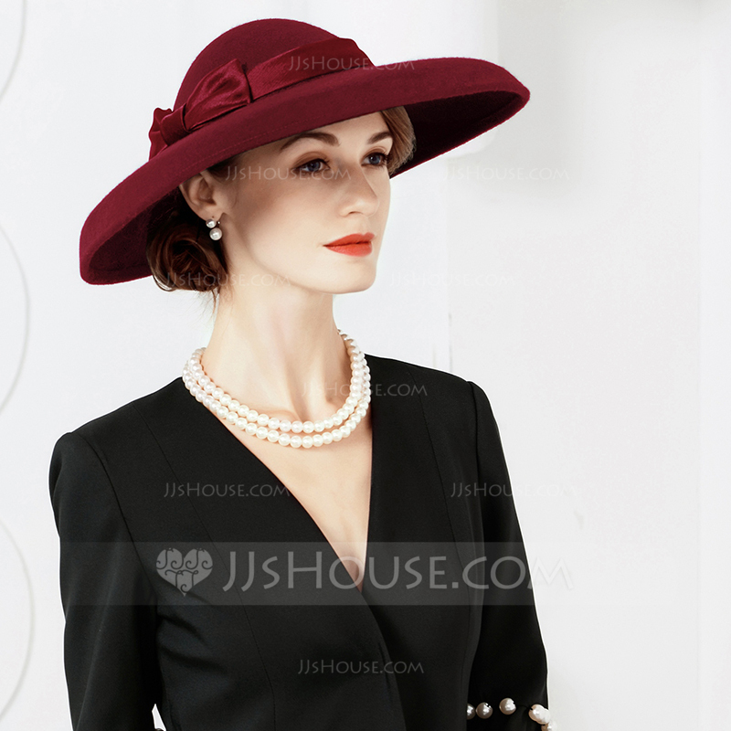 Ladies' Wool With Bowknot Floppy Hats