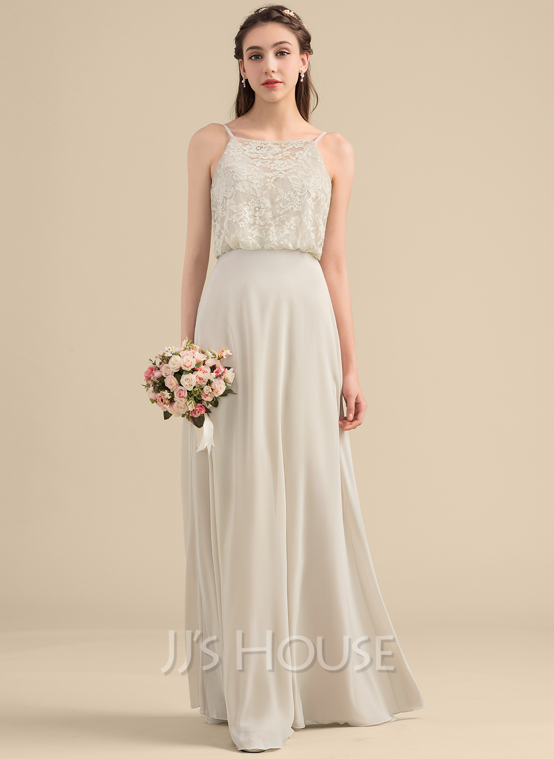 Square Neckline Floor-Length Chiffon Lace Bridesmaid Dress