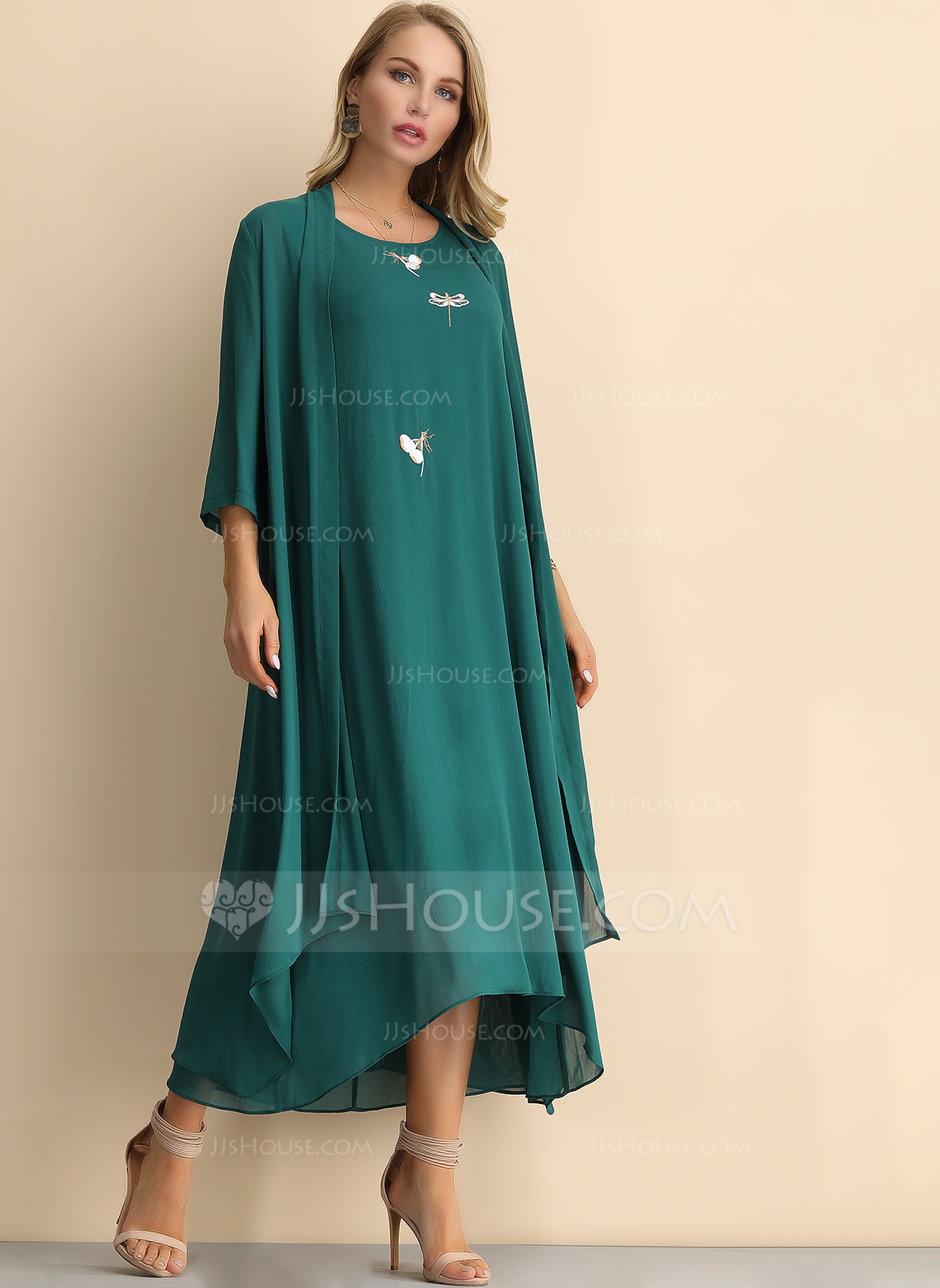 Polyester With Embroidery Maxi Dress (Two Pieces )
